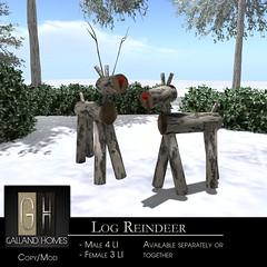 Log Reindeer by Galland Homes