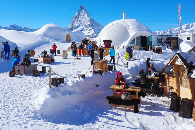 Fondue at the Igloo Village, Zermatt, Switzerland