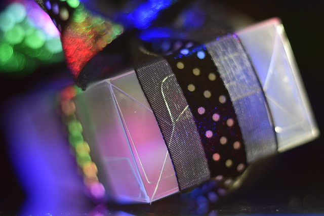 Empty clear plastic box / black ribbon / bow