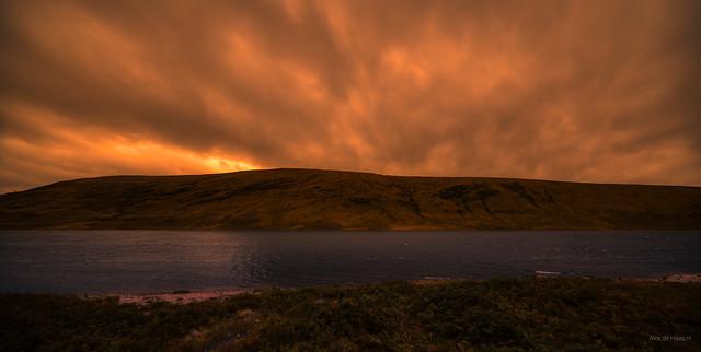 Dark skies above Loch a' Chroisg, Ullapool, Scotland.