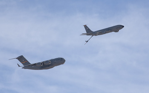 KC-135 and C-17 in Formation