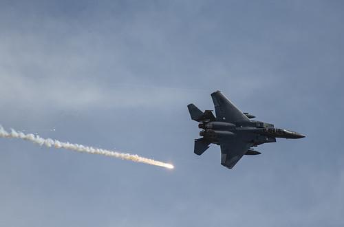 F-15E Strike Eagle Trailing a Flare