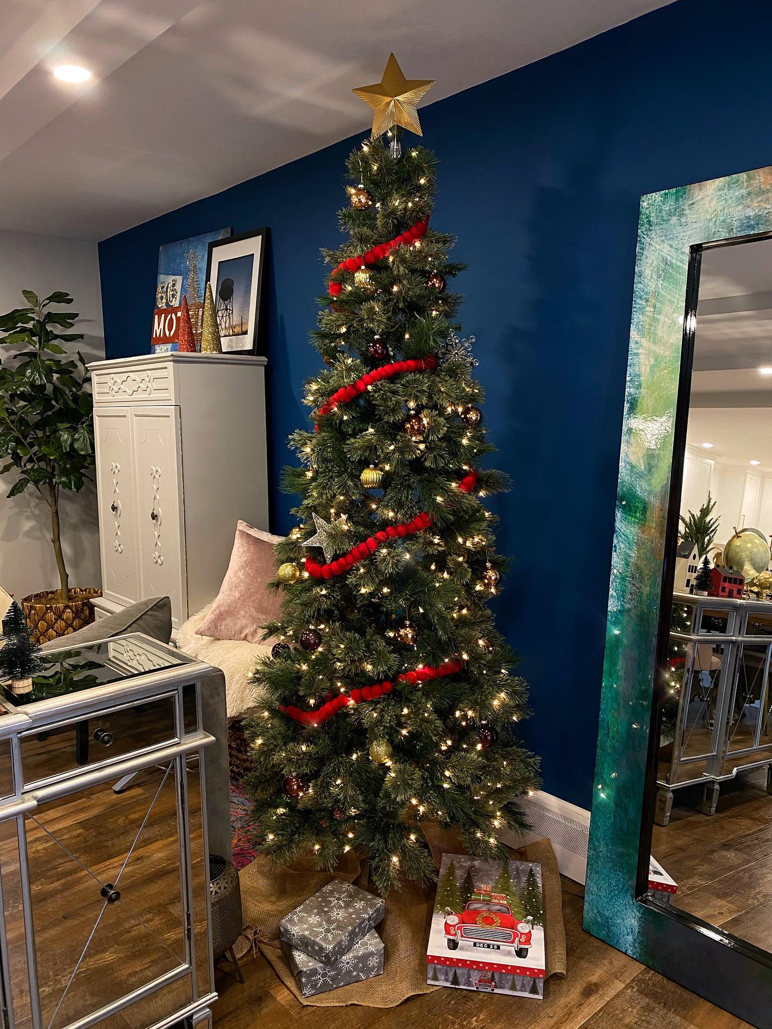 7.5ft Pre-lit Artificial Christmas Tree Slim Virginia Pine with Clear Lights - Wondershop - Apartment Size Christmas Tree - Small Space Christmas Tree