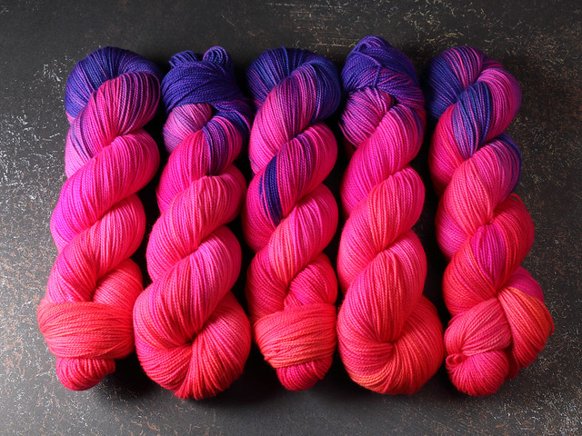 Favourite Sock – hand-dyed pure merino superwash wool 4 ply/sock yarn 100g – 'Overreaction' (neon)