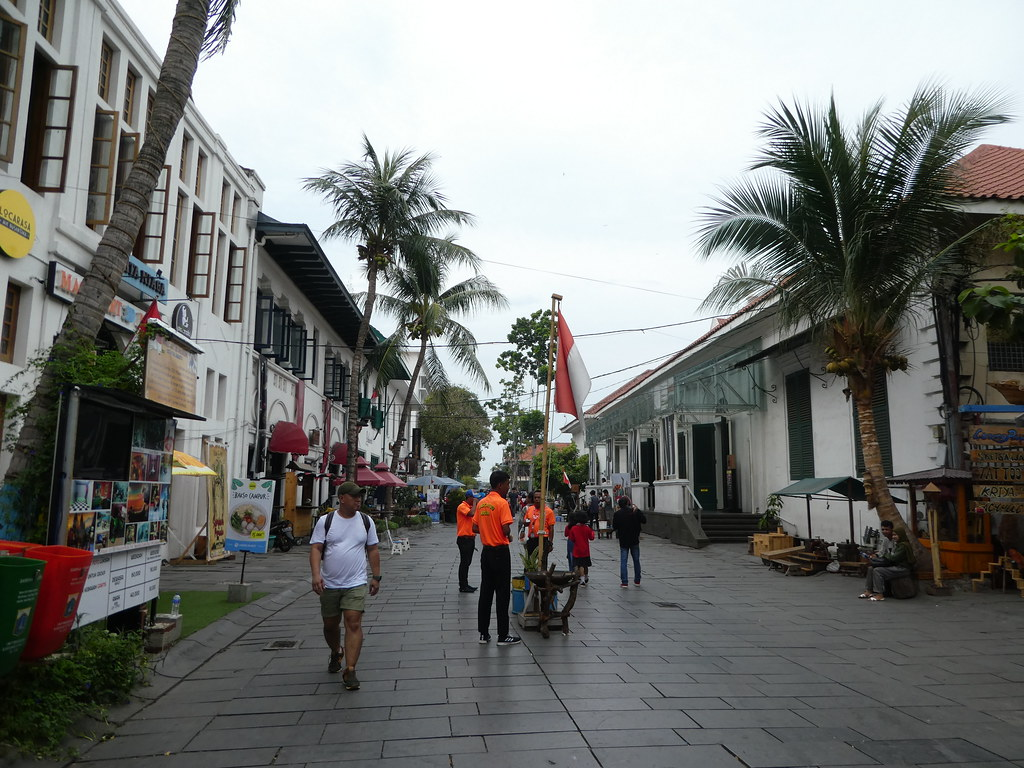 Street scene in the traffic free colonial district of Jakarta