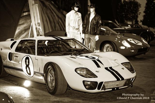 Mega Event FORD V FERRARI Demo Day Simeone Museum - Le Mans Section 1966 GT 40 MK II Matt Damon Christian Bale BW 3/4 RF (4014) Philadelphia, PA 11-23 2019.