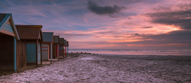 Beach Huts during a Wittering Sunset