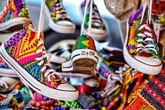 Recycled 'All Stars' using African fabric, spotted in Ghana!