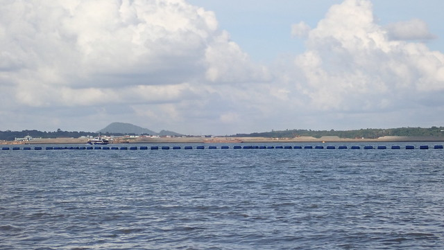 Ongoing reclamation at Pulau Tekong from Changi