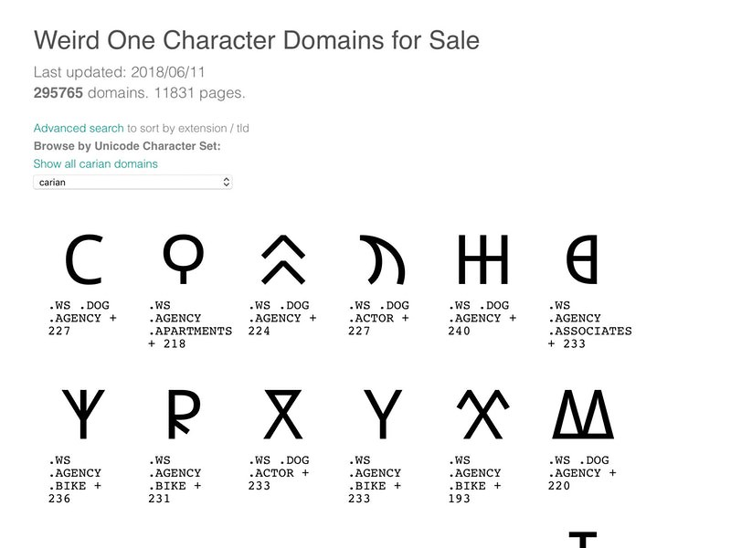 One Character Domain