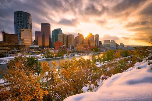 Snow in the fall season at Calgary