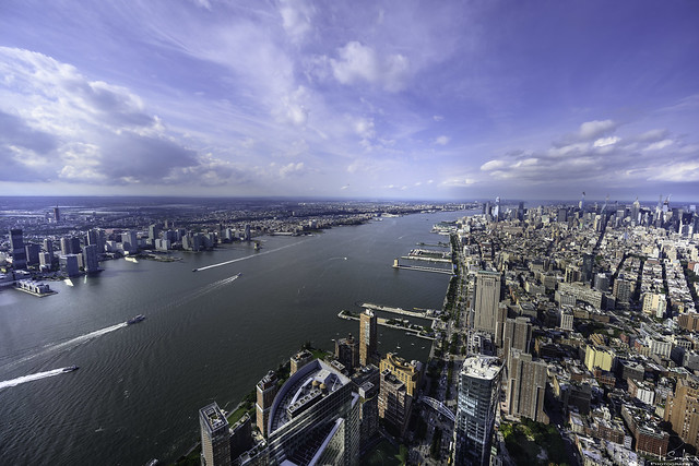 Hudson River view from One World Observatory - New York City - USA