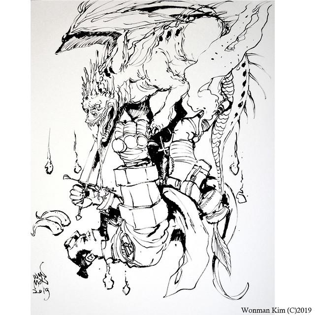 (Iive drawing) Hellboy VS Beast by Wonman Kim