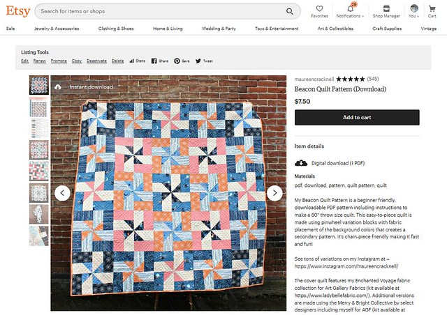 My Beacon Quilt Pattern is in my shop!