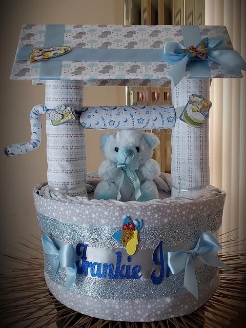 Wishing well diaper cake gift card box