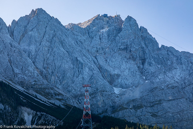 Looking at the Zugspitz and cable car route