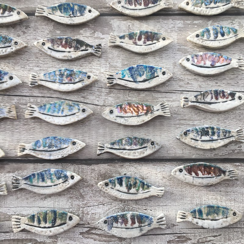 Ceramic fish bathroom wall art