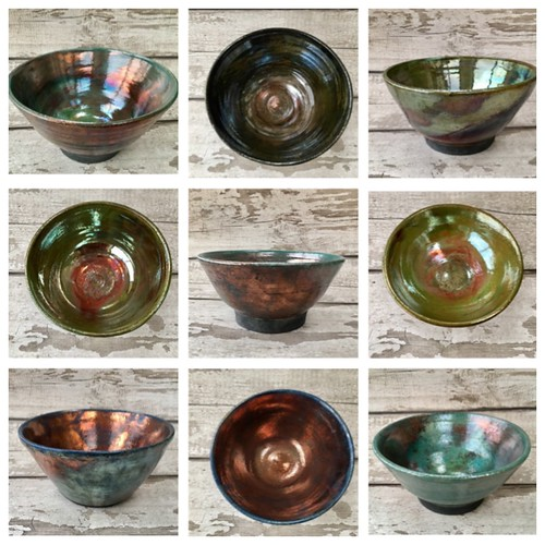 Christmas gifts raku ceramic bowls