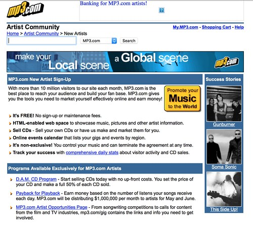 Artist Sign-Up page at mp3.com July 2000