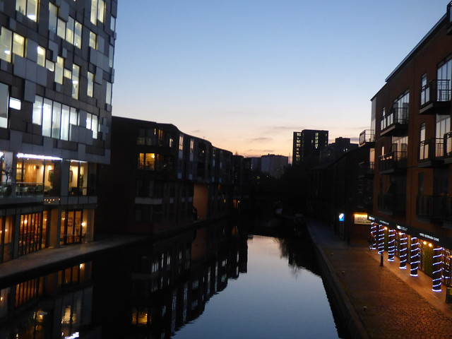 Sunset down the Worcester & Birmingham Canal from The Cube