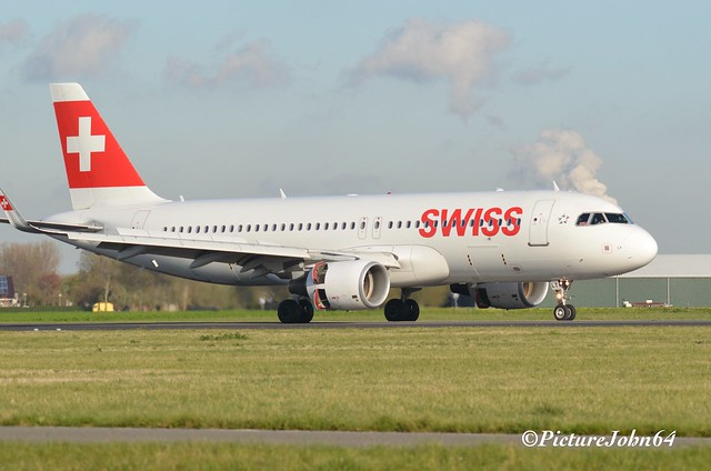 LX728 Swiss International Airlines Airbus 320 NEO (HB-JLT) from Zurich arriving at Schiphol Amsterdam