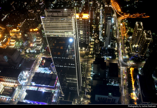 Looking down from the observation deck of Taipei 101, Taipei, Taiwan
