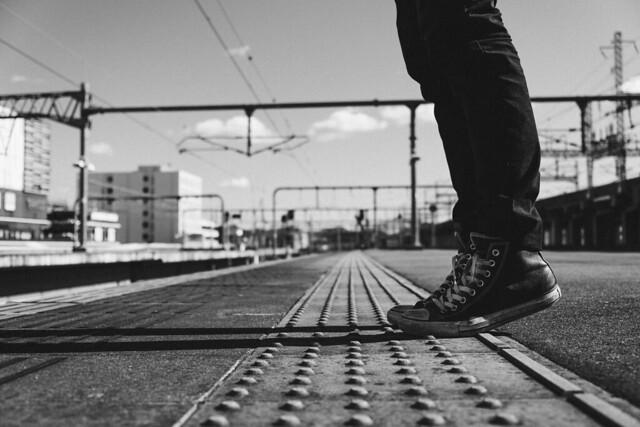 Himeji Station, black and white
