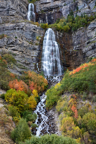 bridalveilfalls usa uintawasatchcachenationalforest unitedstates utah wasatch wasatchmountains autumn fall landscape outdoor water waterfall