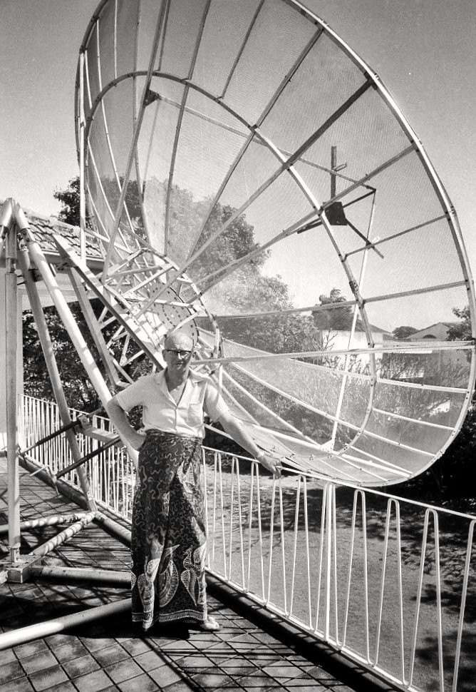 Arthur C. Clarke with Personal Satellite Dish, Sri Lanka, 1970s