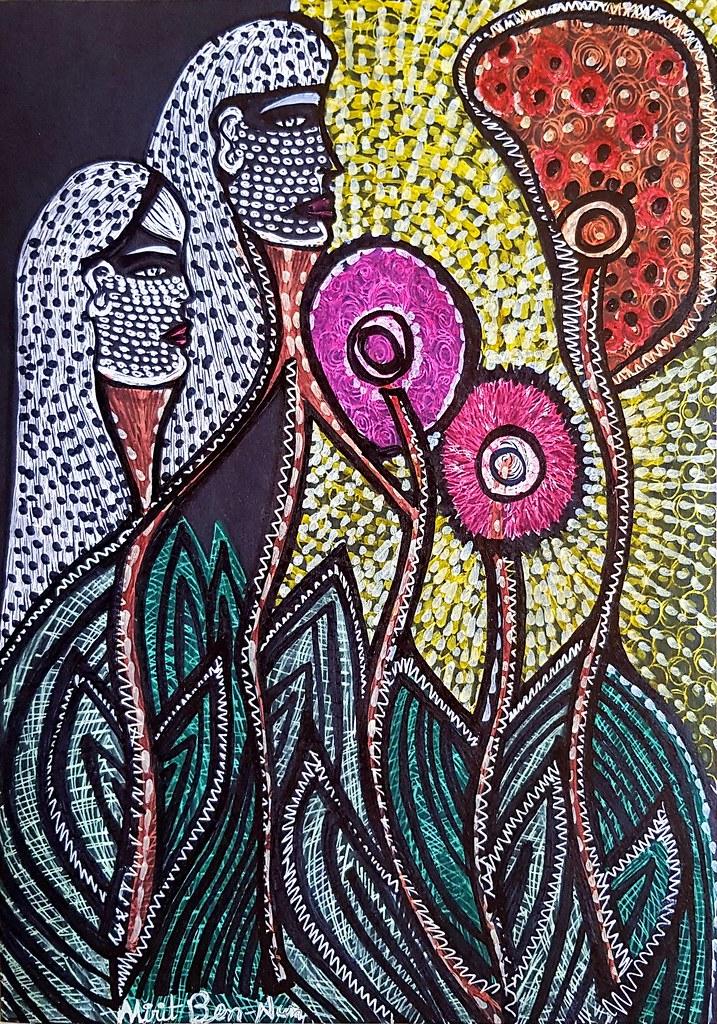 ציור זוג אוהבים עם פרחים אמנות ישראלית מירית בן נון ציירת מודרנית