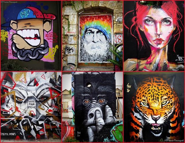 Montage de graffitis et tags dans l'espace Darwin de Bordeaux