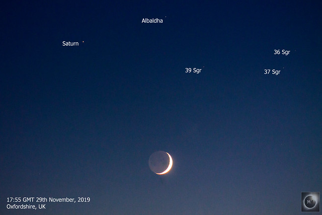 Crescent Moon, Saturn & Albaldha Conjunction 29/11/19