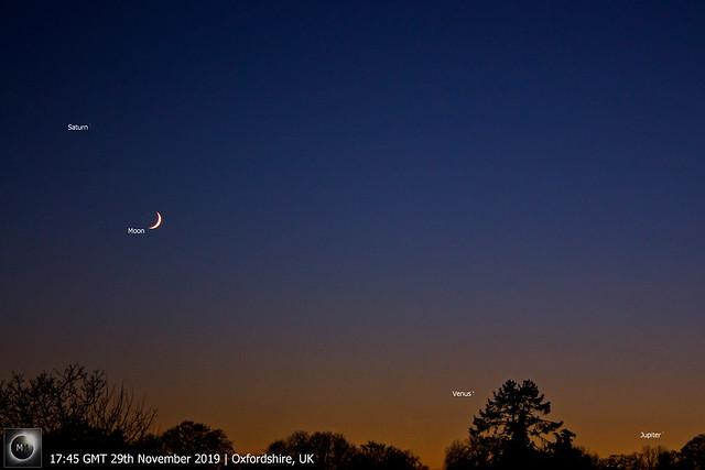 Crescent Moon, Saturn, Venus & Jupiter Conjunction 29/11/19