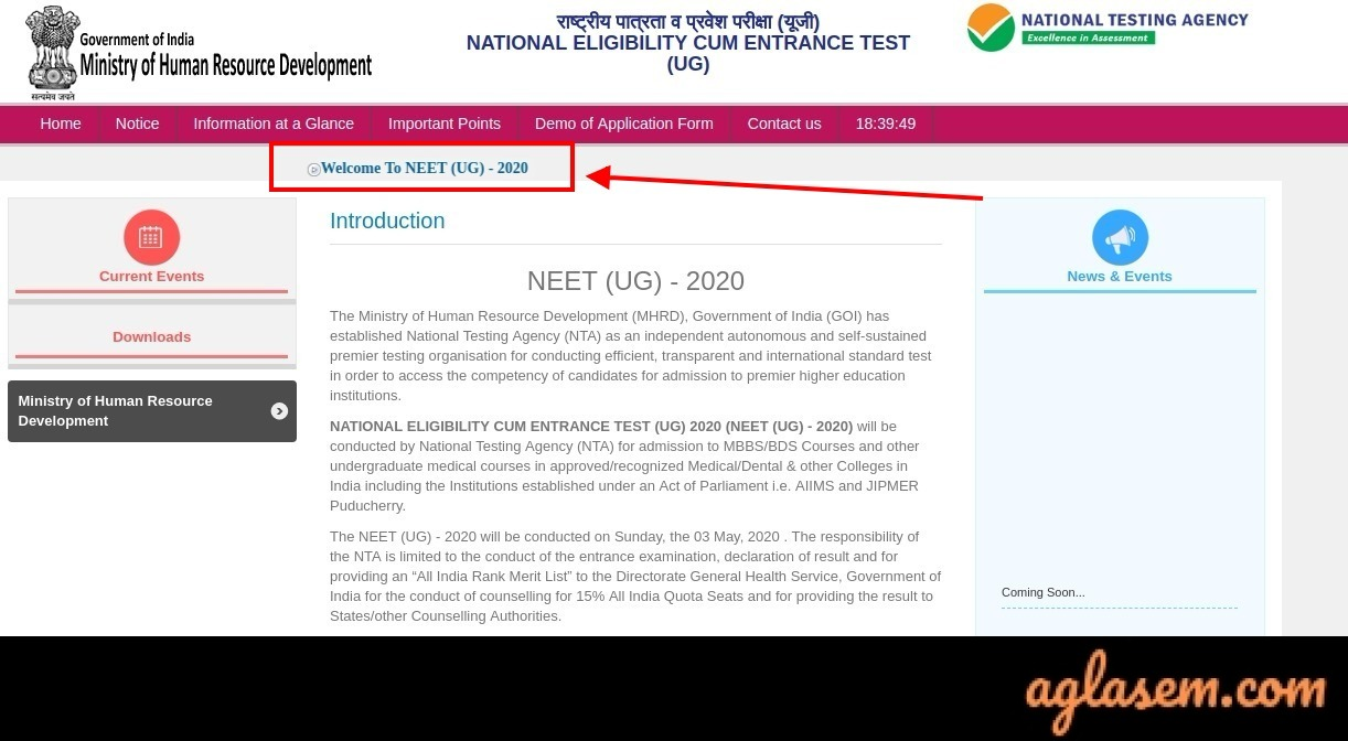 NEET 2020 official website ntaneet.nic.in