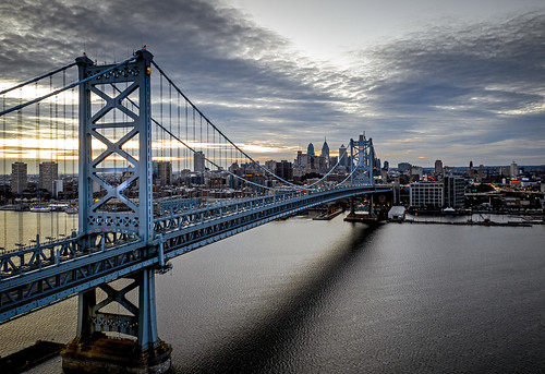 bridge sunset aerial photography city cityscape drone nj pa philly philadelphia landscape