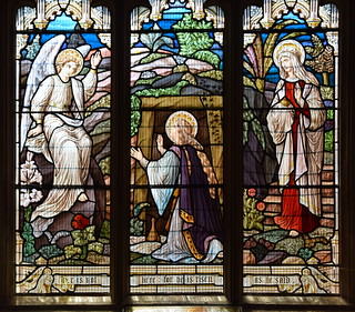 The two Marys and the angel at the empty tomb (Alex Booker of Bruges)