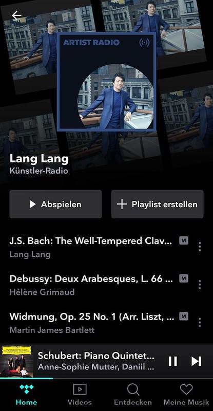 Tidal-App: Lang Lang Künstler-Radio