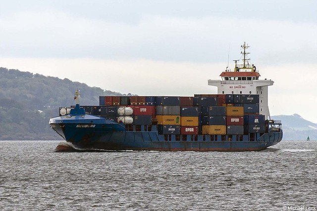 The Cypriot registered container ship Neuburg, IMO 9287792; Firth of Clyde, Scotland