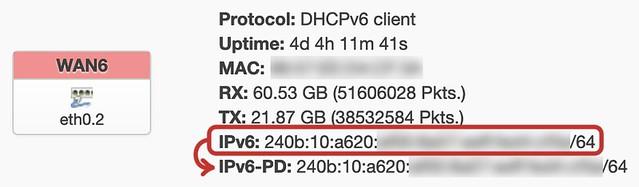 図2. 赤線で囲ったように、表示されたIPv6 アドレスをそのまま Custom delegated IPv6-prefix に設定する。設定値はIPv6-PDとして表示される。