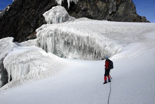 Climbing the snow capped mountain Rwenzori