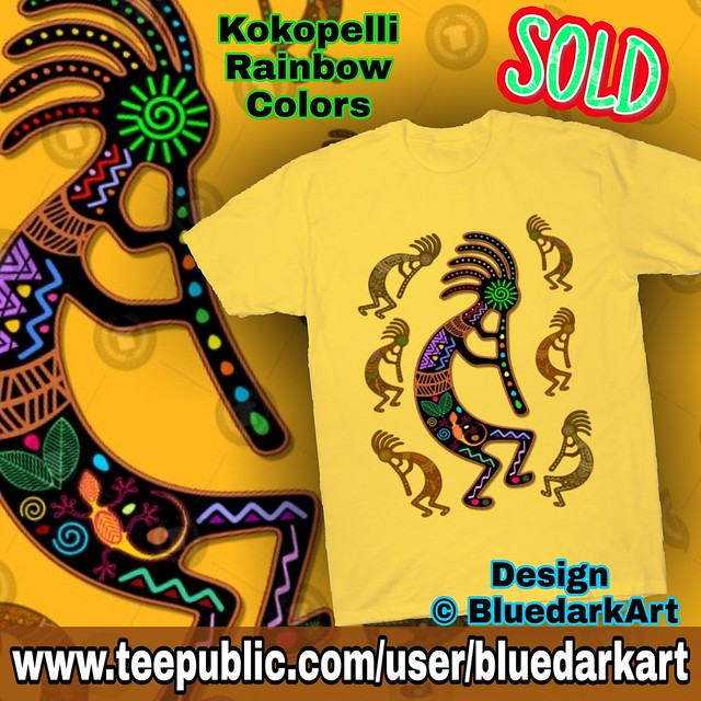 #Save 35% ! 🔥👉 www.teepublic.com/user/bluedarkart 🔥   SOLD! #Kokopelli #rainbow #colors #tshirt  #Design © #BluedarkArt #ThechameleonArt 👉 http://bit.ly/2OYQw7B