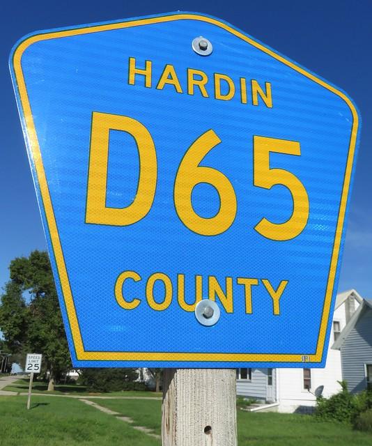 Hardin County Highway D65 Sign (Whitten, Iowa)