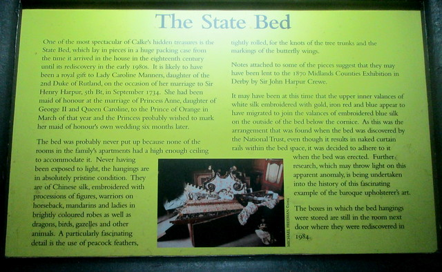 State bed info, Calke Abbey, Derbyshire