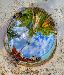Kiribati shipwreck inverted planet