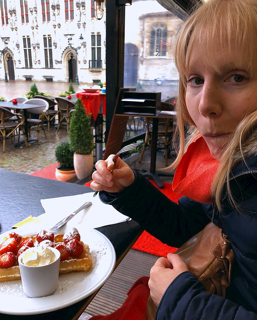 Strawberry waffle with cream in Bruges