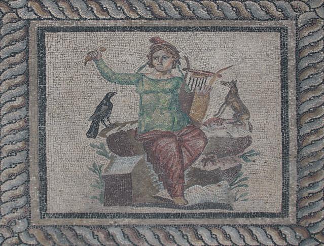 Mosaico di Orfeo - mosaico pavimentale dalla sala da pranzo (triclinium) di una casa romana privata - 200 d.C. - pietra naturale e vetro - Pergamon museum Berlino