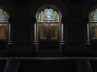 Lowlight theater entrance