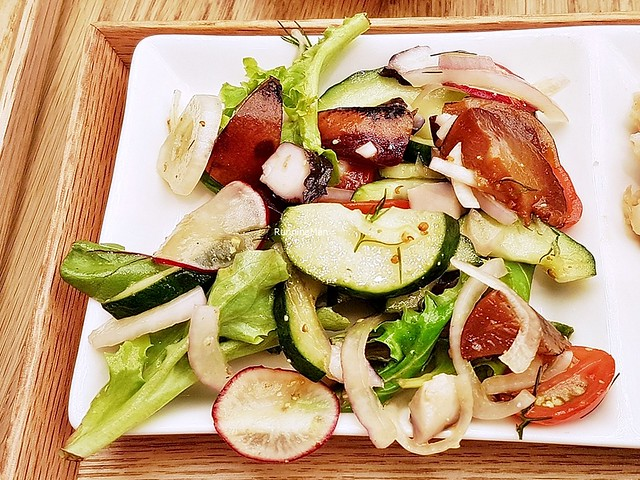 Lime, Dill, Octopus, Summer Stone Fruit Salad
