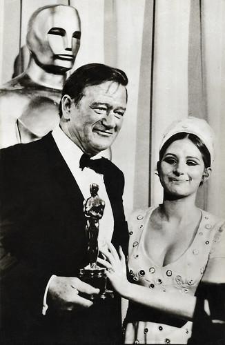 John Wayne and Barbra Streisand during the Oscars ceremony 1970