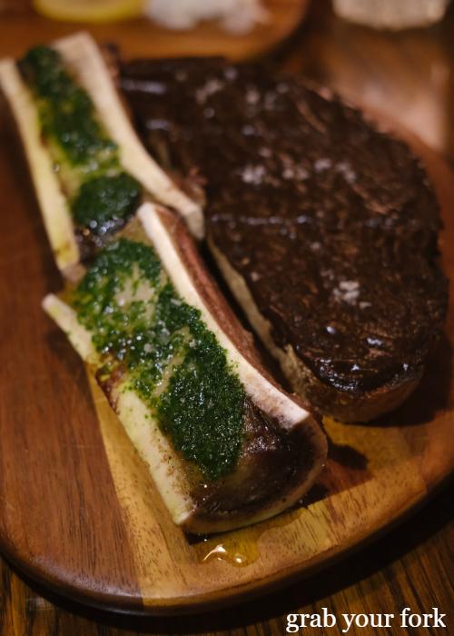 Bone marrow, parsley and black garlic toast at The Kittyhawk in Sydney